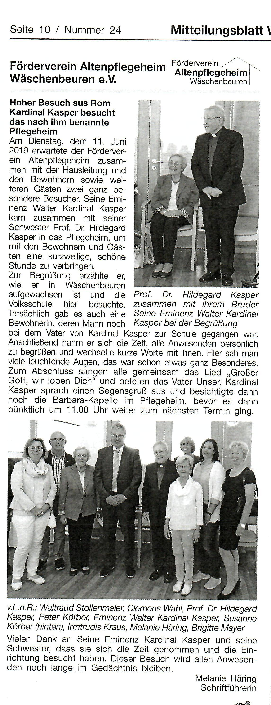 Zeitungsartikel Besuch Kardinal